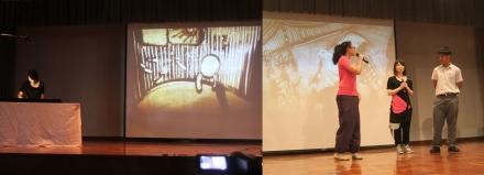 左圖為藝術家趙惠芝於學校示範沙畫,右圖為學生與趙惠芝示範如何陪同視障人士走路。