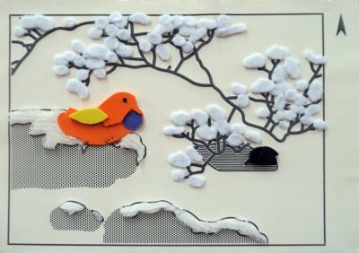 《仿日人荒木十畝「四季花鳥 – 冬」》觸感製作